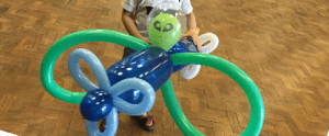 Jumbo jet alien balloon model at a children's party in Cheltenham.
