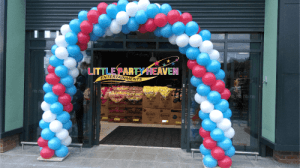 Balloon arch for a store open day in Cumbria.
