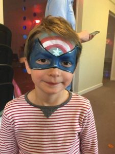 Captain America face painting.