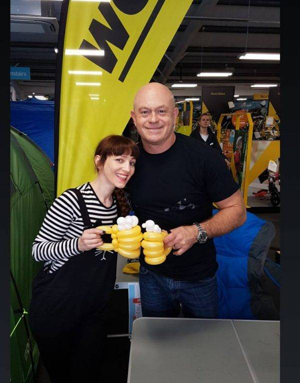 Claudia balloon modelling for Ross Kemp in Ipswich.