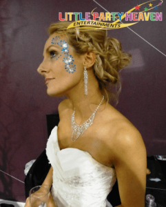 Bride with her face painted.