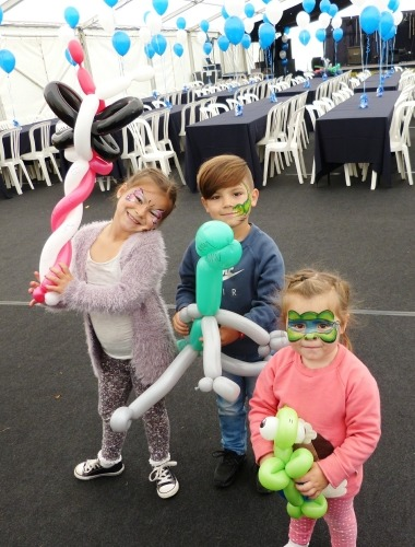 Face painting and balloon modelling.