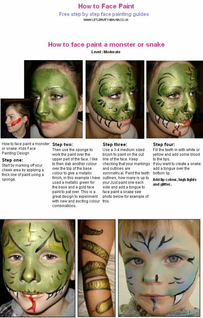 How to face paint a monster or snake