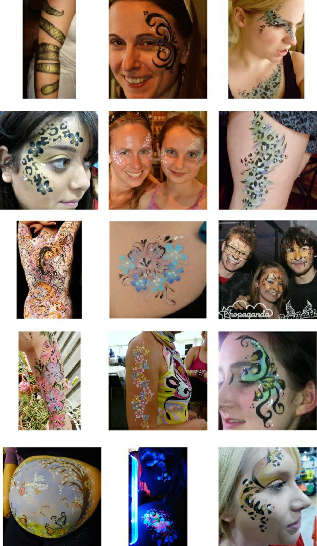 Face painting idea sheet for adults.