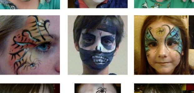 Halloween face painting ideas, monster, zombie, skeleton and witch.