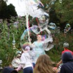 Outdoor bubble display show at a pub party in Tetbury.
