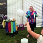 Childrens entertainer in Cheltenham performing her smoke filled bubble trick.