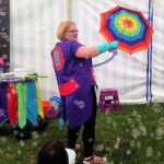 Bubble B performing her bubble show at a kids party in Gloucester.